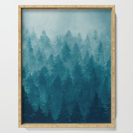 Misty Pine Forest Serving Tray