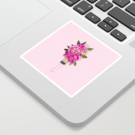 Peonies on Pink Sticker
