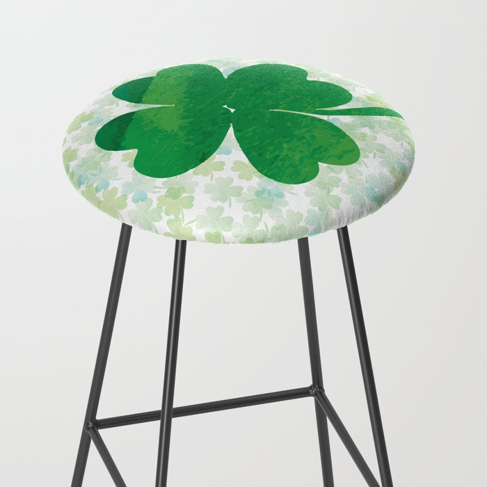 Lucky Watercolor Clovers Bar Stool