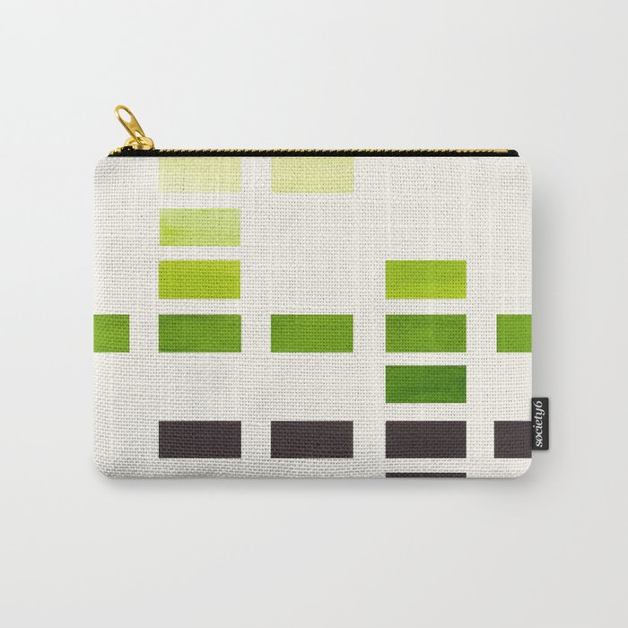 Colorful Minimalist Sap Green Mid Century Modern Minimalist Square Geometric Pattern Carry-All Pouch