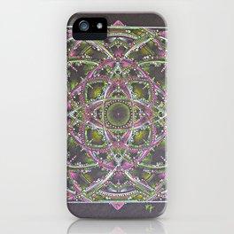 Green and Purple Mandala iPhone Case