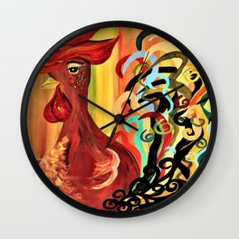 Curly Rooster Wall Clock