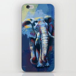 Elephant Dream - Colorful wild animal digital painting iPhone Skin