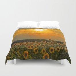 Field of Sunflowers at Sunset Duvet Cover