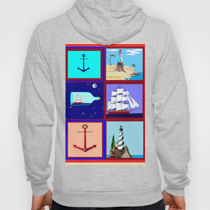 A Nautical Quilt with Ships, Lighthouses and Anchors Hoody
