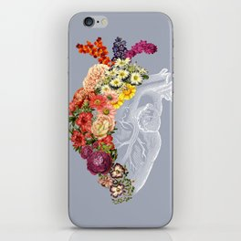 Flower Heart Spring Light Grey iPhone Skin