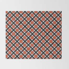 Black and orange plaid Throw Blanket