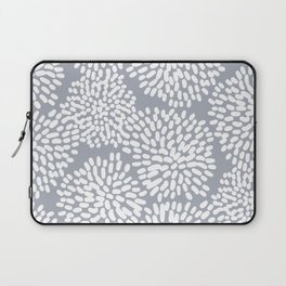 Grey and White Abstract Firework Flowers Laptop Sleeve