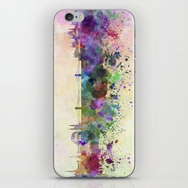 Budapest skyline in watercolor background iPhone Skin