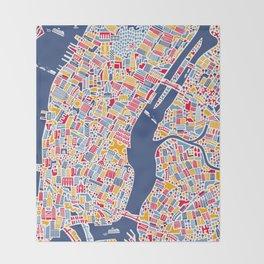 New York City Map Poster Throw Blanket