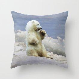 Cute Polar Bear Cub & Arctic Ice Throw Pillow