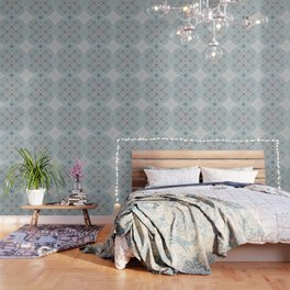 Colliding Circles in Teal and Grey Wallpaper