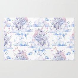 Watercolor unicorn in the sky Rug