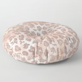 Rosegold Blush Leopard Glitter Floor Pillow