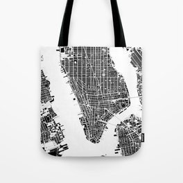 New York city map black and white Tote Bag