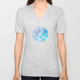 Watercolor and Silver Feathers on Watercolor Background Unisex V-Neck