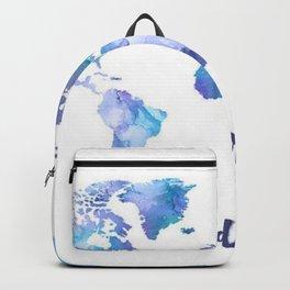 Ultra Violet And Blue Wanderlust Map Backpack