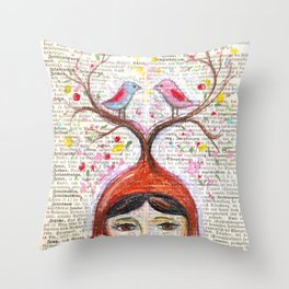 Birds and thoughts and love and magic Throw Pillow