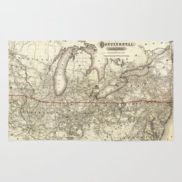 Map of the Continental Railroad Route (1873) Rug