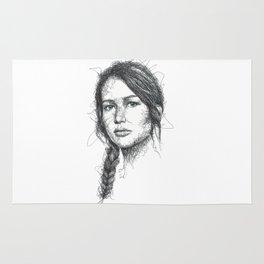 Katniss Everdeen Scribbles (Pen Art) Rug