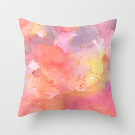 Sunset Color Palette Abstract Watercolor Painting Throw Pillow