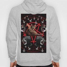 satanic cat pentagram death black metal band exorcist Hoody