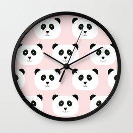 Panda Love -Pink Wall Clock