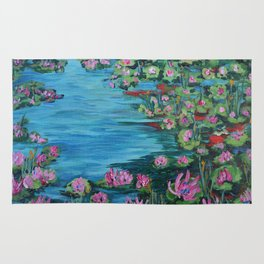Lily Pond, Impressionism Painting, Pond Flowers Rug
