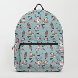 Teal gnome pattern - Christmas Backpack
