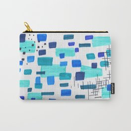 Minimalist Abstract Juvenile Colorful Aqua Blue Shapes Pattern Mid century Modern Carry-All Pouch