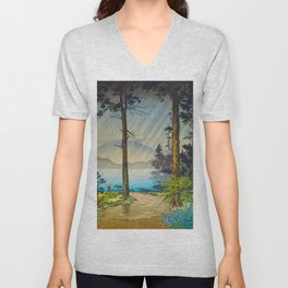 Tsuchiya Kôitsu Japanese Woodblock Vintage Print Light Shining Through Forest Trees Lake Unisex V-Neck