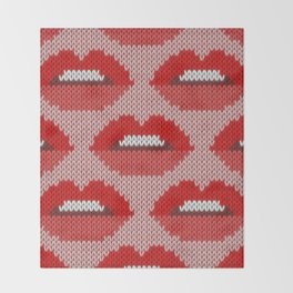 Lips pattern - pink Throw Blanket