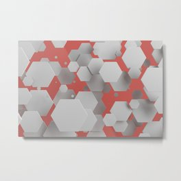 White hexagons on red Metal Print