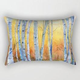 Birch Trees at Sunset Rectangular Pillow