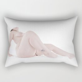 3367-SRC Big Bare Beautiful Girl on White Art Nude Woman Rectangular Pillow