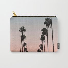 California Sunset // Palm Tree Silhouette Street View Orange and Blue Color Sky Beach Photography Carry-All Pouch