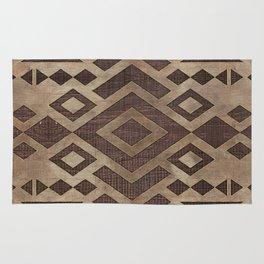 Ethnic Geometric Wooden texture pattern Rug