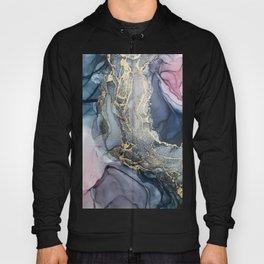 Blush, Payne's Gray and Gold Metallic Abstract Hoody