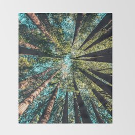 Treetop green blue Throw Blanket