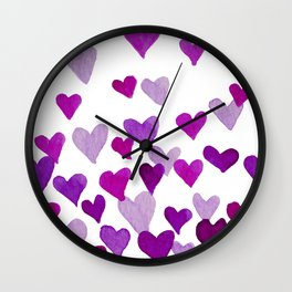 Valentine's Day Watercolor Hearts - purple Wall Clock
