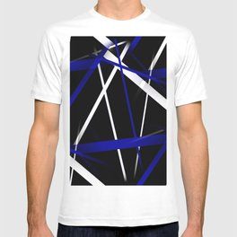Seamless Royal Blue and White Stripes on A Black Background T-shirt