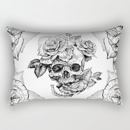Black and White skull with roses pen drawing Rectangular Pillow