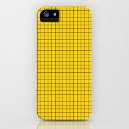 Yellow Grid Black Line iPhone Case