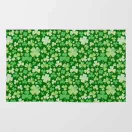 Lucky Green Watercolour Shamrock Pattern Rug