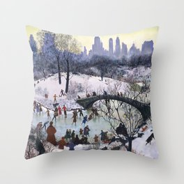 Vintage Central Park Skating Painting Throw Pillow