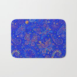 Blue Spring Butterfly Pattern Bath Mat