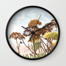 Succulent wild flowers by the sea Wall Clock