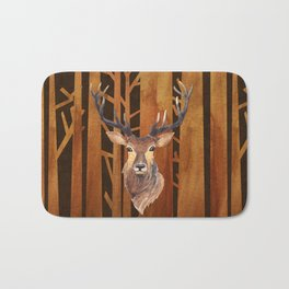 Proud deer in forest 1- Watercolor illustration Bath Mat