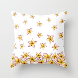 Lillies - Handpainted pattern - white background Throw Pillow