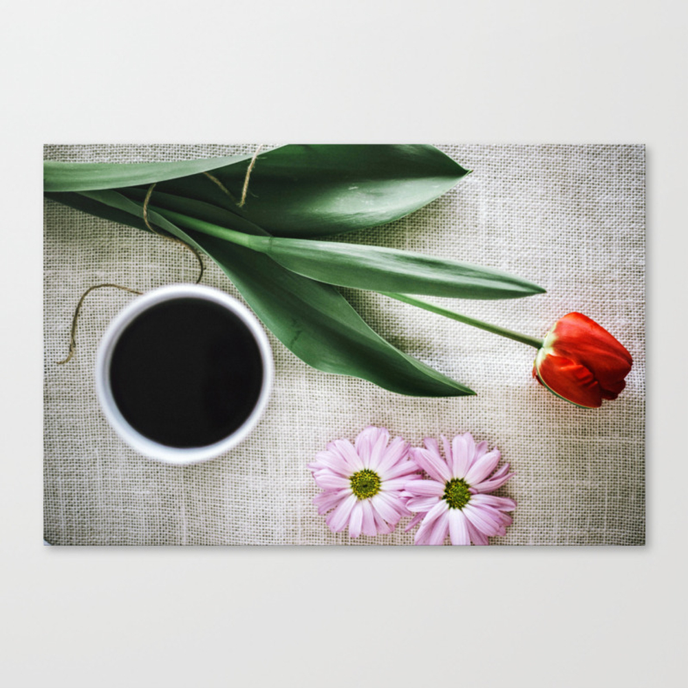 Color Print Coffee & Flowers Canvas Print by Shellyotteson CNV9003756